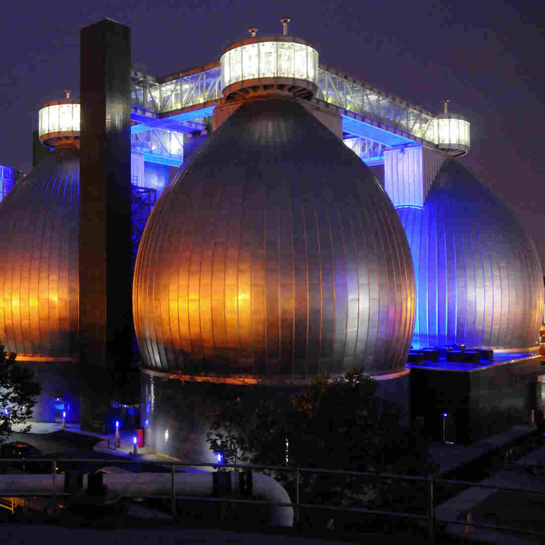 The digester eggs at Newtown Creek Wastewater Treatment Plant in Brooklyn contain millions of gallons of black sludge.
