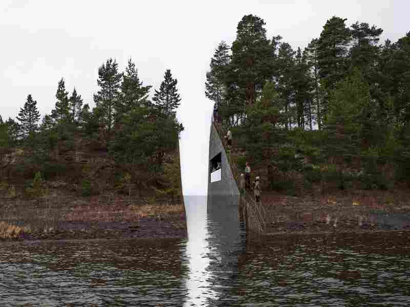 "This illustration, provided by artist Jonas Dahlberg, shows his vision for a ""memory wound"" near the Norwegian island where dozens of people died during an attack by a right-wing extremist in 2011."