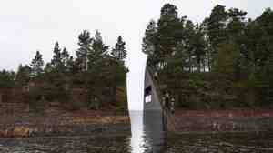 """This illustration, provided by artist Jonas Dahlberg, shows his vision for a """"memory wound"""" near the Norwegian island where dozens of people died during an attack by a right-wing extremist in 2011."""