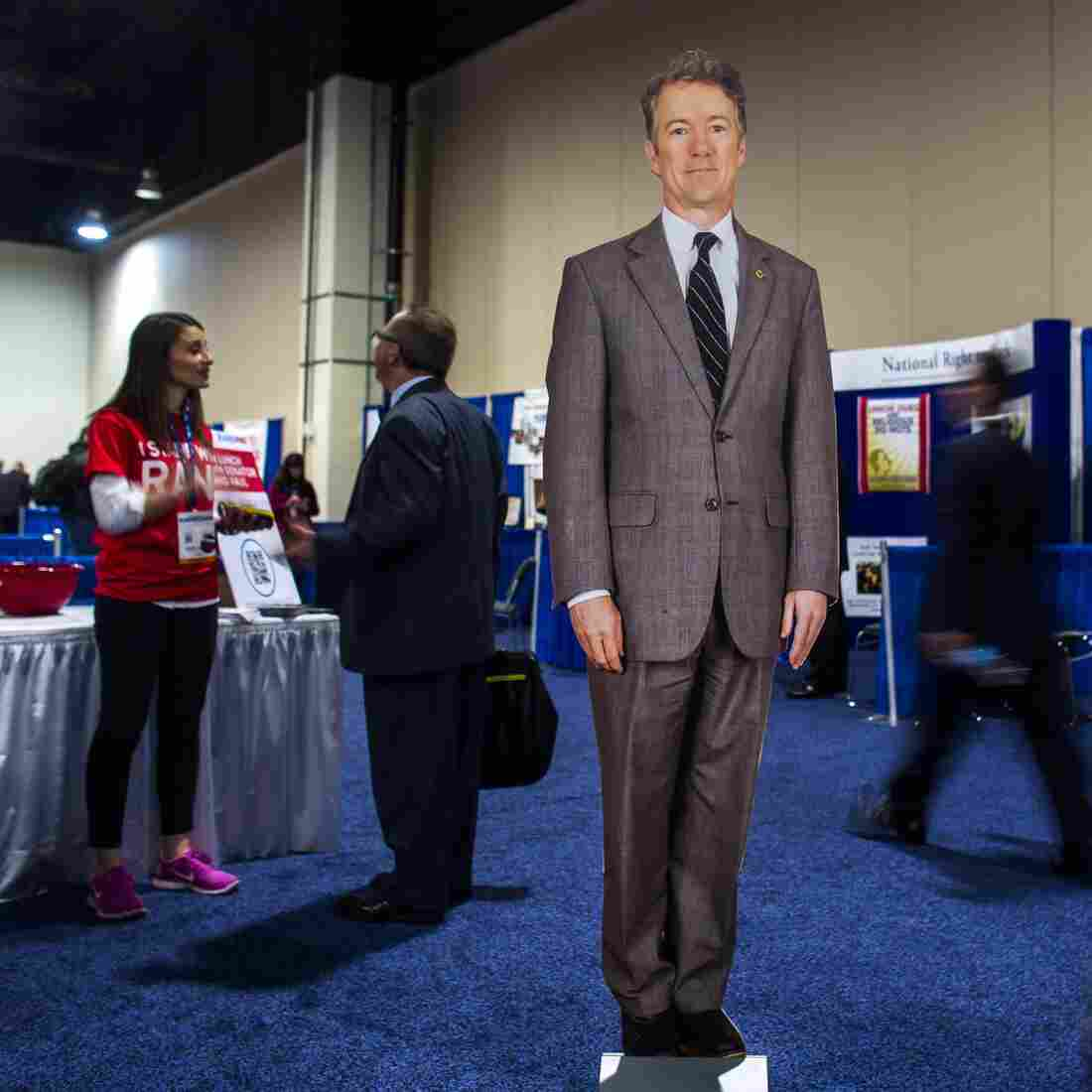 At CPAC this year, even Sen. Rand Paul's cardboard cutout was drawing attention. The Kentucky lawmaker was leading in the straw poll among attendees Friday.