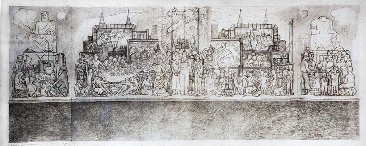 An early sketch of the mural shows how it differed from the finished mural.