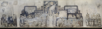 An early sketch of the mural shows how it differed from what Diego Rivera painted in Rockefeller Center.