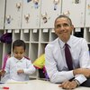 President Barack Obama sits with students during a tour of a Pre-K classroom at Powell Elementary School in Washington, D.C., this week.