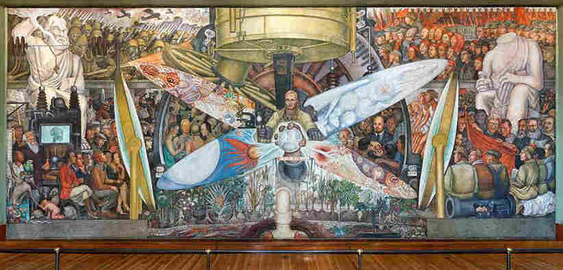Destroyed by rockefellers diego rivera mural trespassed for Diego rivera creation mural