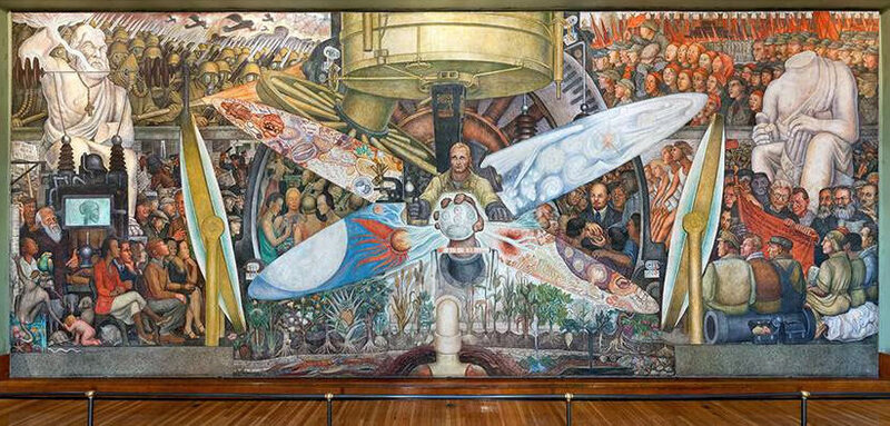 After the Rockefeller Center mural was destroyed in 1934, Diego Rivera recreated this version, named Man, Controller of the Universe, which is on display at the Palacio de Bellas Artes in Mexico City. The story of the original mural's creation and destruction is the focus of a Mexican Cultural Institute exhibition in Washington, D.C.