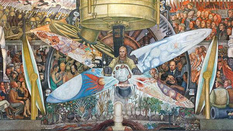 Destroyed by rockefellers mural trespassed on political for Diego rivera mural new york rockefeller