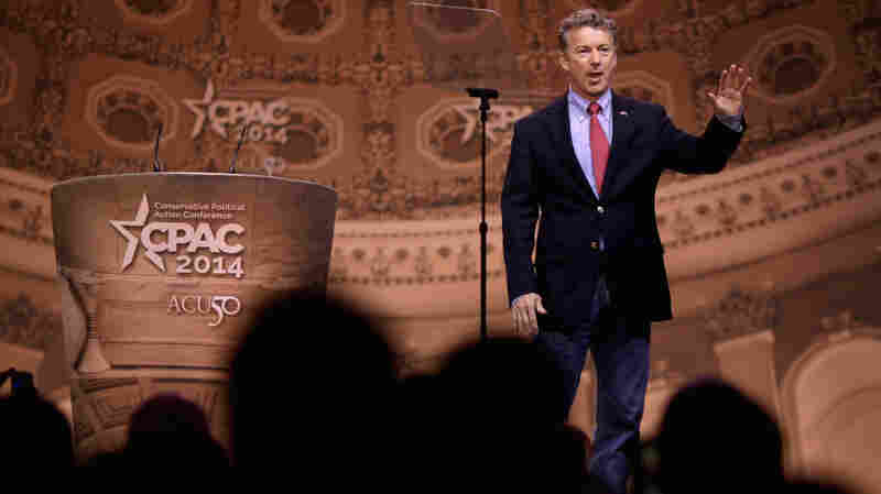 Sen. Rand Paul takes the stage at the Conservative Political Action Conference in National Harbor, Md., Friday. For the second consecutive year, Paul won the event's straw poll.