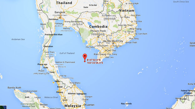 A map shows the spot in the Gulf of Thailand where Vietnamese officials say m