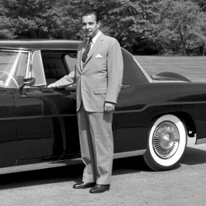 William Clay Ford poses with a 1956 Continental Mark II, a car developed while he led the auto maker's Continental division.
