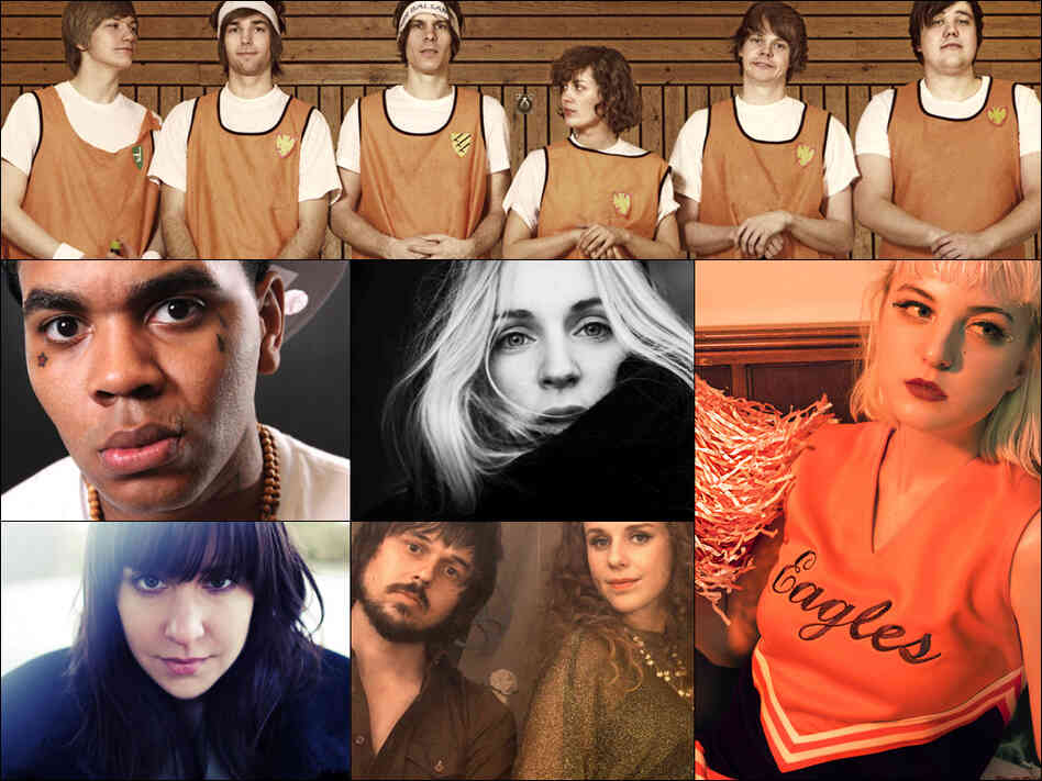 Top row: Team Me; Middle Row, left to right: Kevin Gates, Agnes Obel, Lowell; Bottom row: Laura Stevenson, Moon Honey