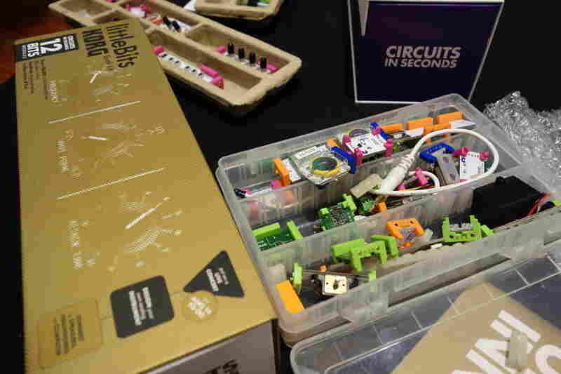 A set of littleBits comes with more than 40 different types of electronic pieces that connect with magnets.