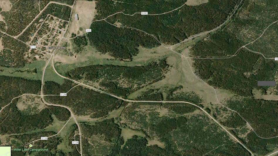 A Wyoming man has won a Supreme Court case fighting efforts to route the Medicine Bow Rail Trail through his family's property. On this map, the trail is the unmarked route moving from the lower right toward Fox Park, where Marvin Brandt lives.