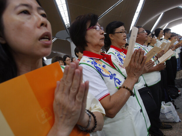 At Kuala Lumpur International Airport on Sunday, prayers were said for the 239 people who have been missing since flight MH370 disappeared.