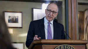 Cornell University President David Skorton speaks during a news conference Monday in Washington, D.C.