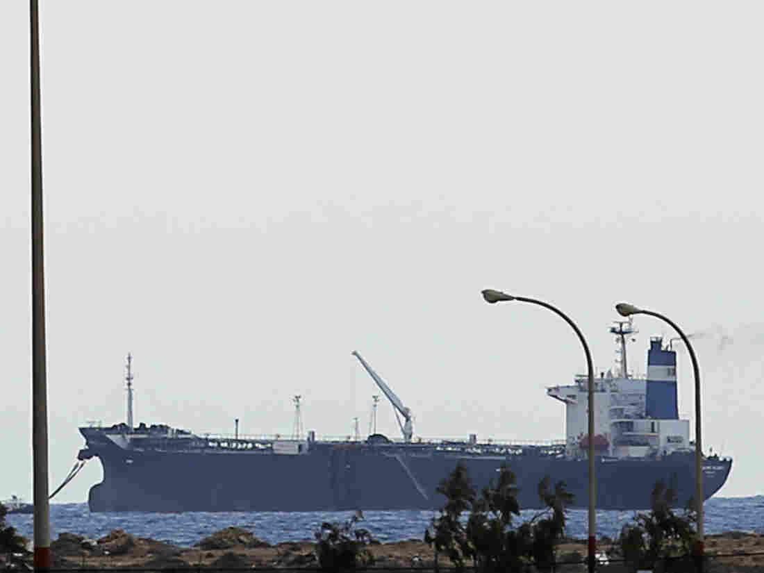 "The North Korean-flagged tanker ""Morning Glory"" is docked at Sidra's export terminal at Ras Lanuf earlier this week."