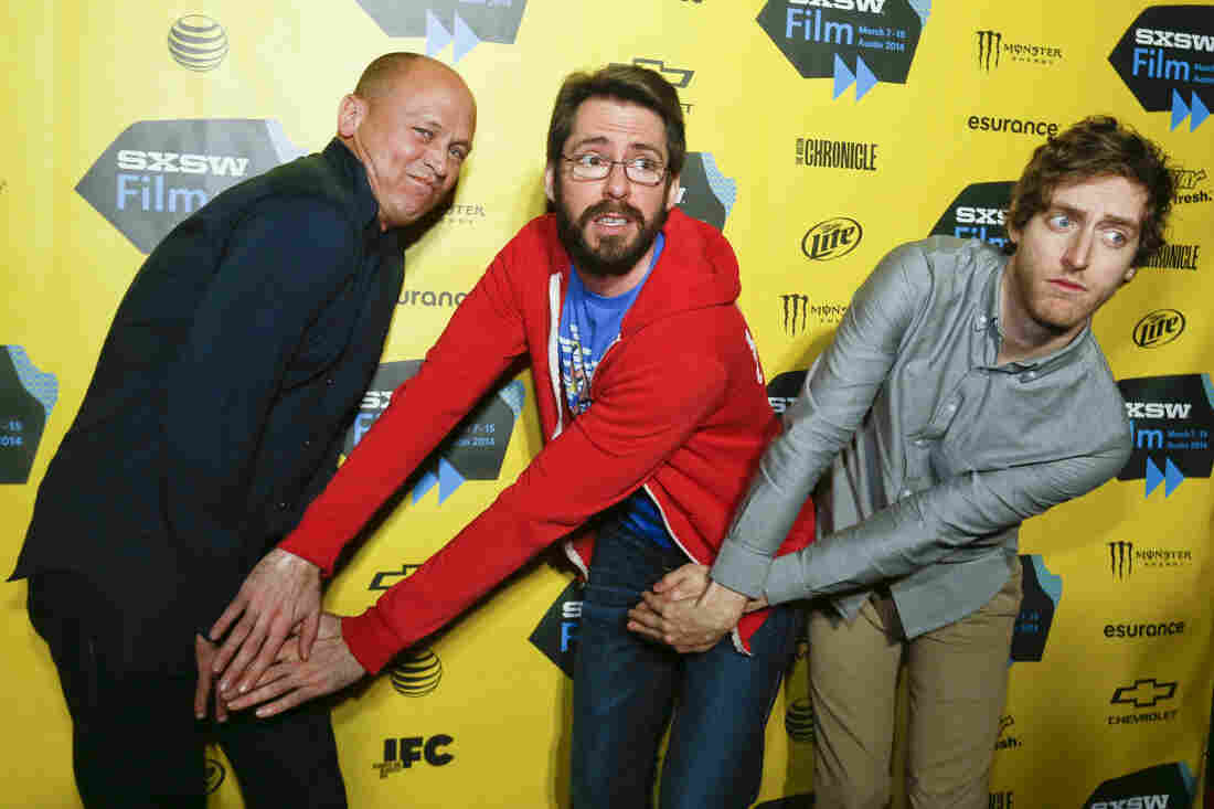 """Mike Judge, from left, Martin Starr, and Thomas Middleditch pose on the red carpet for the world premiere of their television series """"Silicon Valley"""" during the SXSW Film Festival."""