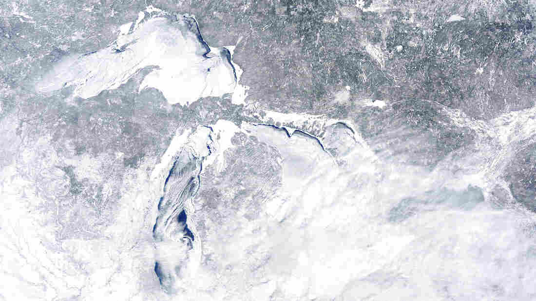 The mostly frozen Great Lakes on Feb. 16. Not sure which lake is which? Click here.