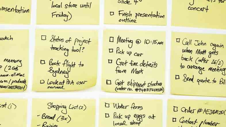 Grid of sticky notes with To Do lists on them.