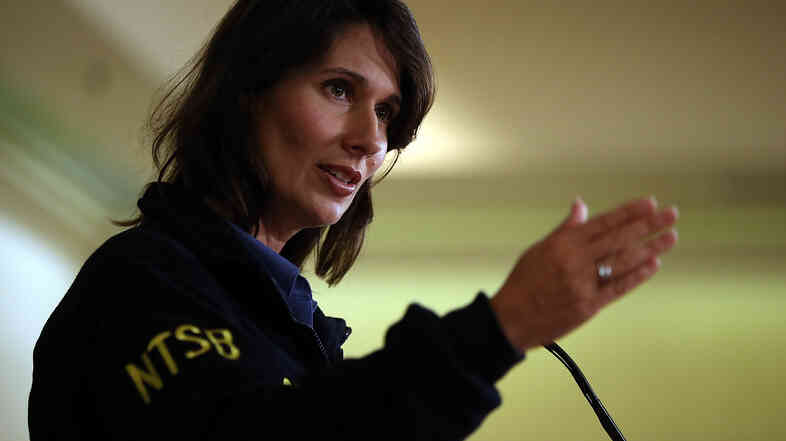 National Transportation Safety Board Chairman Deborah Hersman briefing reporters about the July 2013 crash of Asiana Airlines Flight 214 in San Francisco.