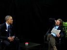 President Obama sits for an interview with comedian Zach Galifianakis for the online show Between Two Ferns.
