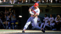 Pete Rose swings for the Cincinnati Reds in the 1985 season. Rose, aka