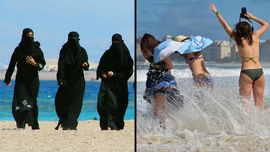 On the left: Women wearing burqas walk by the Gulf of Aqaba in Jordan in 2006. Right: Women in bikinis visit a beach in Rio de Janeiro in 2013.