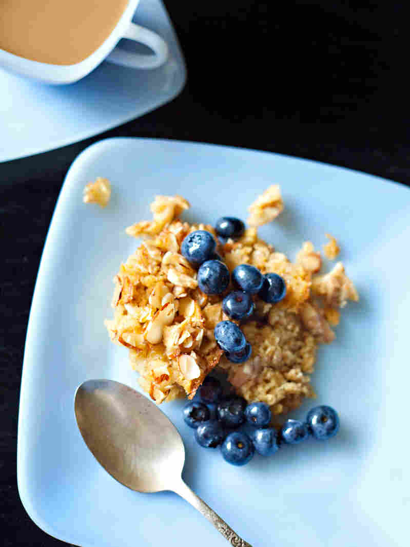 """Baked oatmeal with blueberries, one of the recipes featured in The Arcadia Mobile Market Seasonal Cookbook. """"It's possible to eat healthy on a budget,"""" Harris says. """"Not easy, but possible."""""""