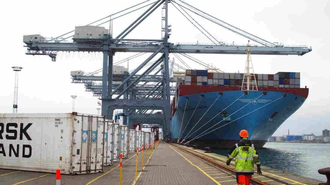 Maersk McKinney Moller at port in Aarhus, Denmark, shortly after arriving.