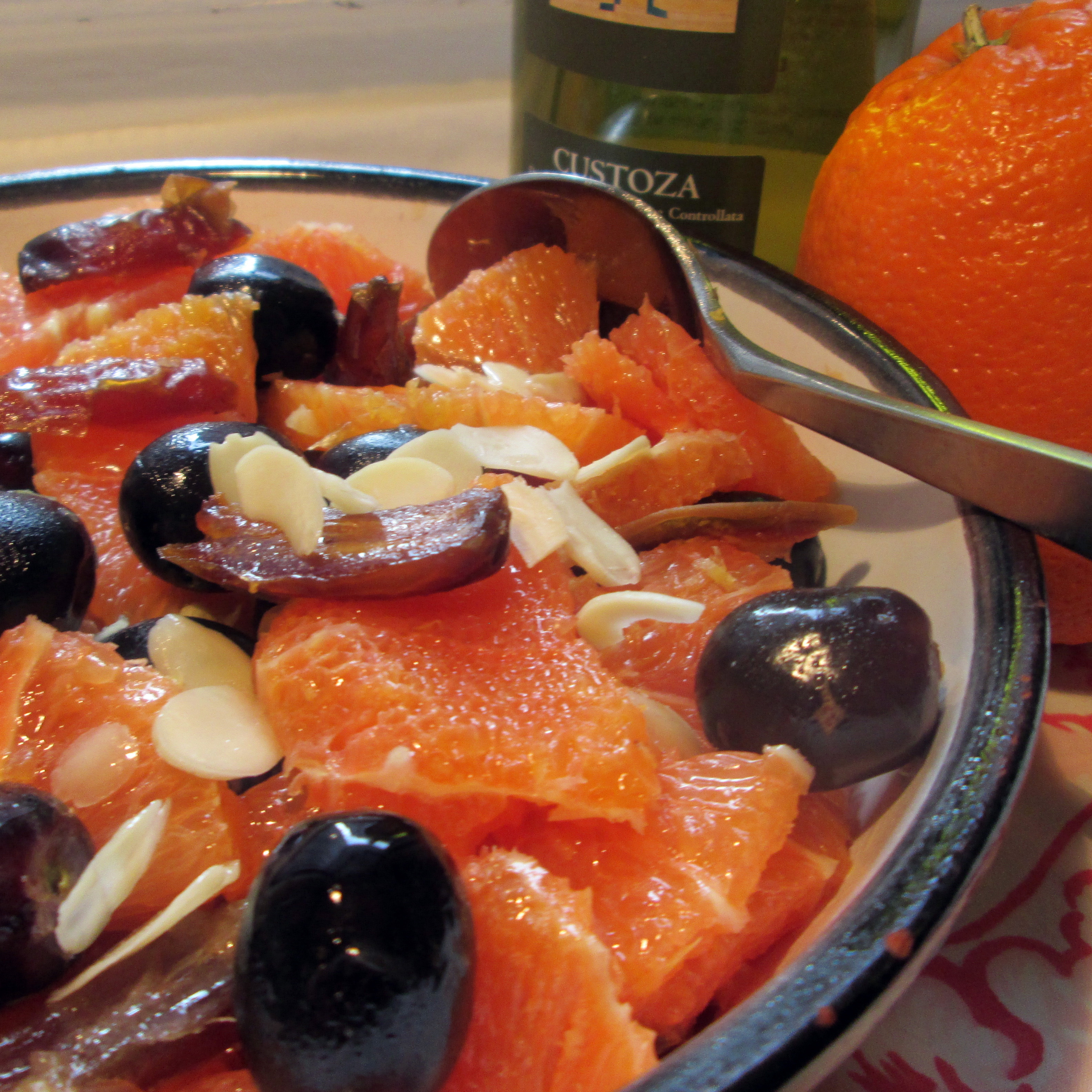 Macerated Oranges, Medjool Dates And Grapes with Slivered Almonds