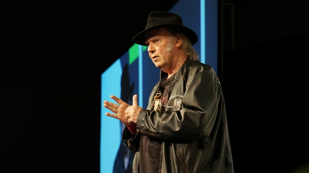 Neil Young speaks about Pono, his new high-quality digital audio system, at SXSW. (NPR)