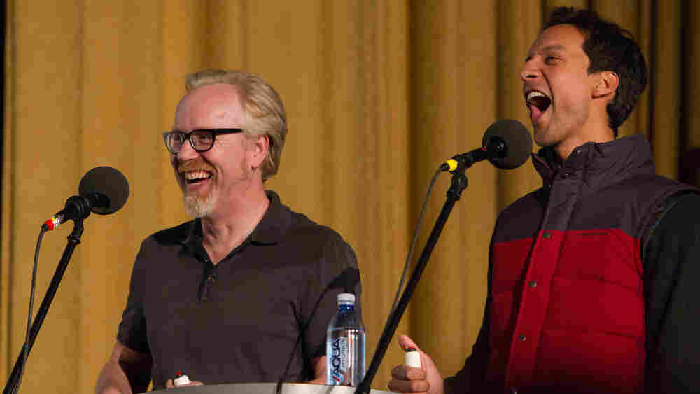 """Get off my plane!"" Mythbusters' Adam Savage (left) and Community's Danny Pudi test their mettle for action movie one-liners."