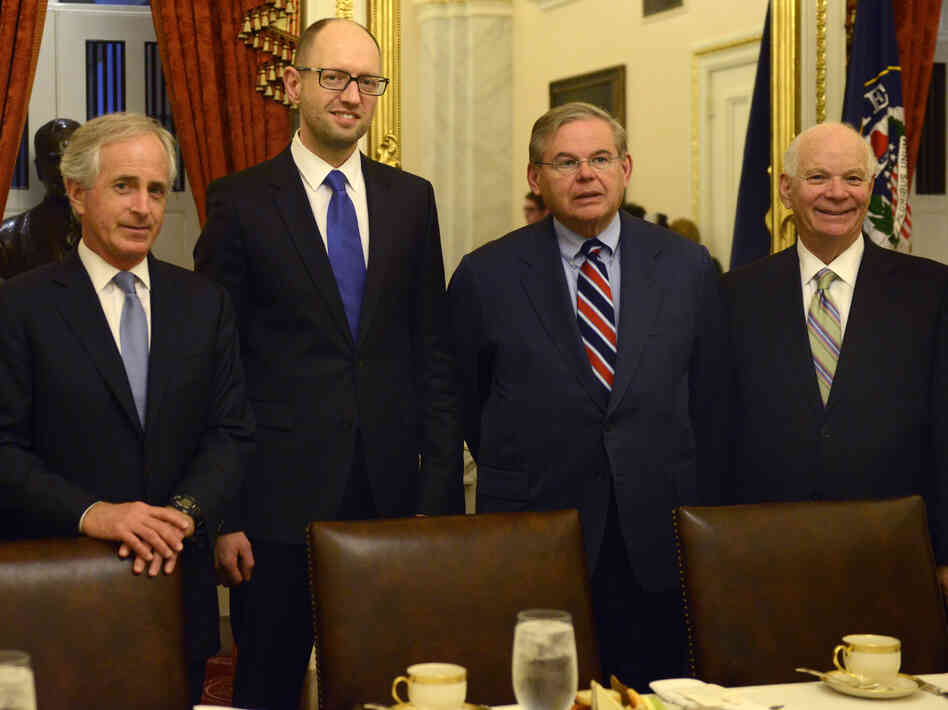 Sen. Bob Corker, R-Tenn. (from left), Ukraine's Prime Minister Arseniy Yatsenyuk and Sens. Robert Menendez, D-N.J., and Ben Cardin, D-Md., met on Capitol Hill on Wednesda