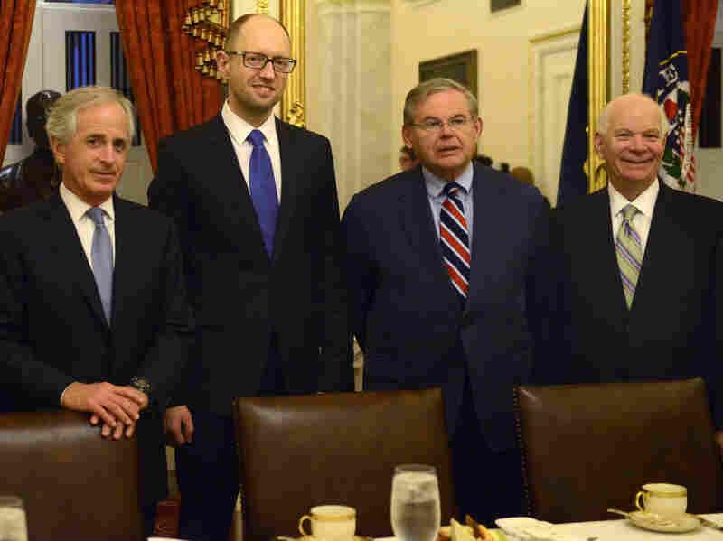 Sen. Bob Corker, R-Tenn. (from left), Ukraine's Prime Minister Arseniy Yatsenyuk and Sens. Robert Menendez, D-N.J., and Ben Cardin, D-Md., met on Capitol Hill on Wednesday.