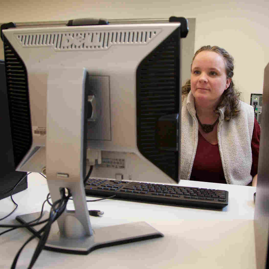 Julie Ball at a newly renovated computer lab at Shute Park Branch Library in Hillsboro, Oregon. The new lab is set to open on Saturday.