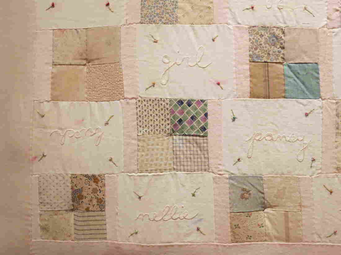 Melanie Braverman, Queer, 1999-2000 , Antique fabric quilt patches, cotton thread, and silk ribbon, 64 x 49 in.