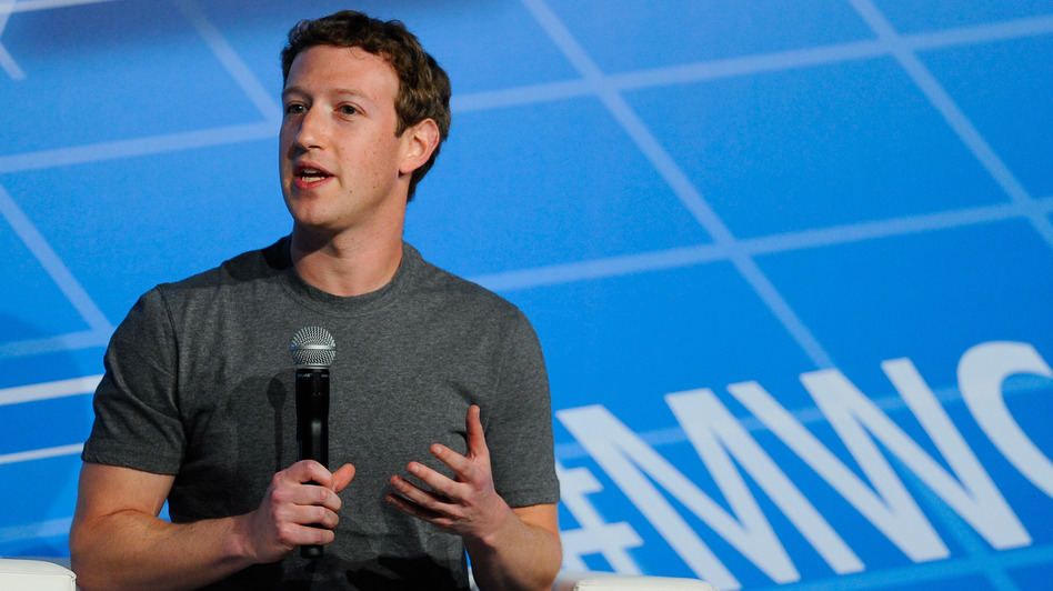 Co-Founder, Chairman and CEO of Facebook Mark Zuckerberg speaks during his keynote conference as part of the first day of the Mobile World Congress 2014 in Barcelona, Spain.