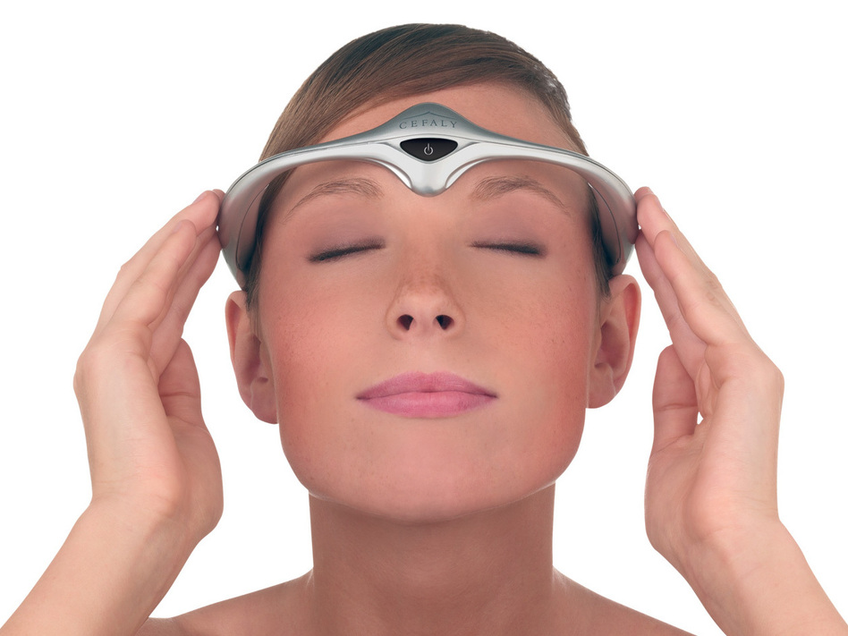 The sci-fi Cefaly headband puts an electrode firmly against the forehead to help reduce the frequency of migraines. (Cefaly)