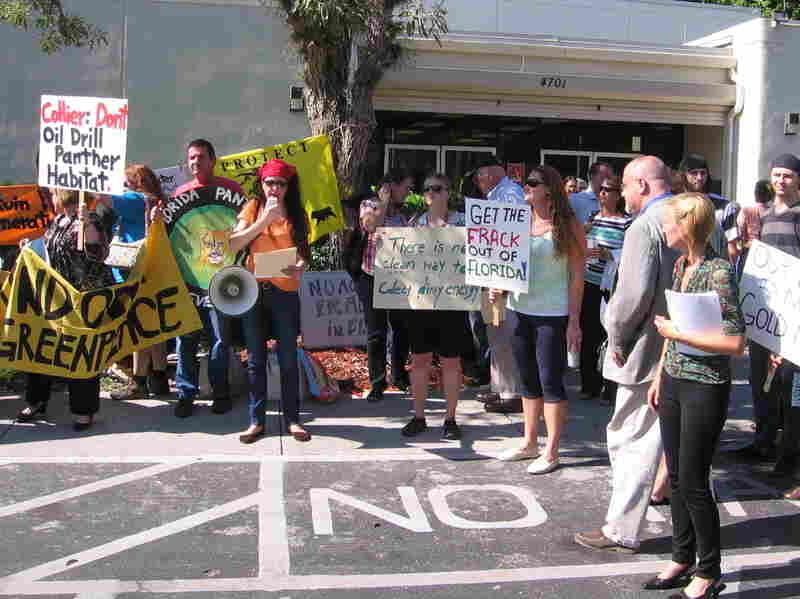 Activists rallied outside a community center in Naples, Fla., before recent hearings on a proposed oil well in the western Everglades.