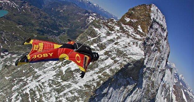Joby Ogwyn jumps over the peaks of the Matterhorn in Switzerland in 2009.