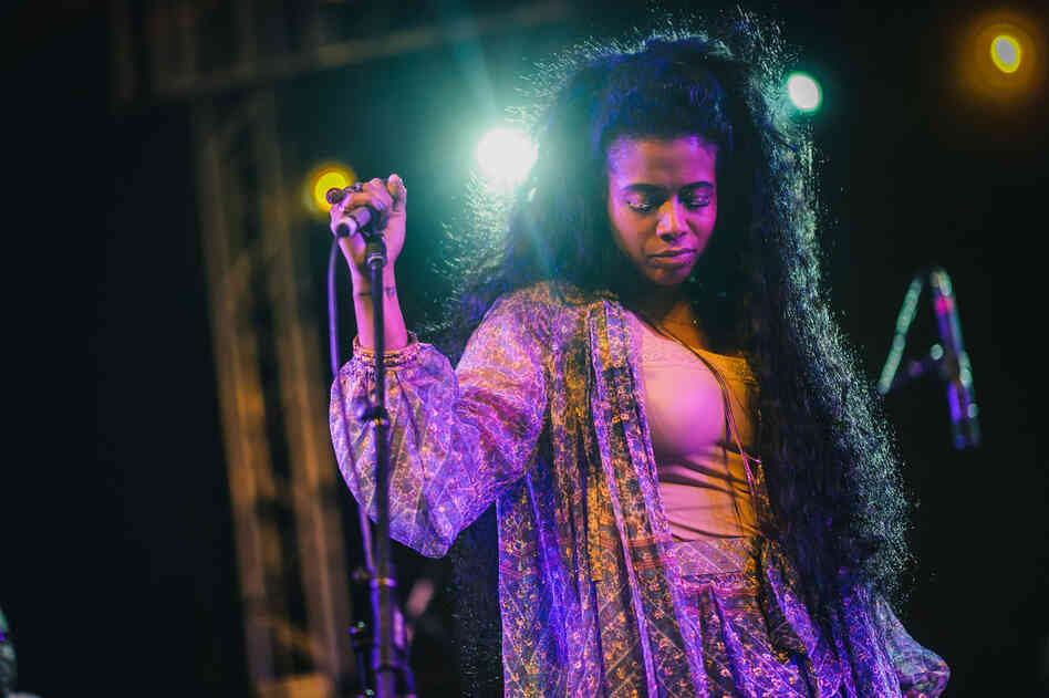 The R&B singer Kelis played a retro-tinged set from her forthcoming album, Food, backed by a large band featuring horns and backup singers.