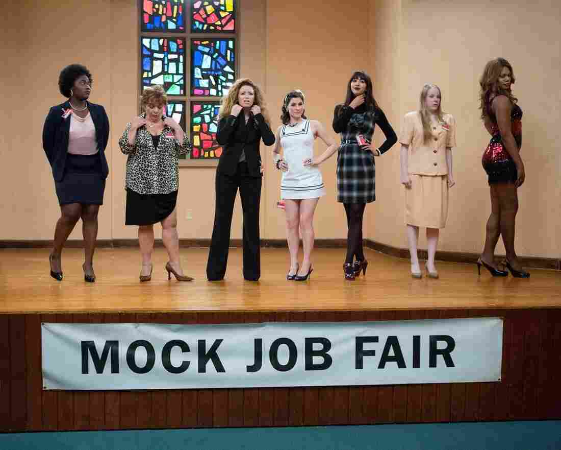 Danielle Brooks, Lin Tucci, Natasha Lyonne, Yael Stone, Jackie Cruz, Emma Myles and Laverne Cox in a scene from Netflix's Orange Is The New Black.