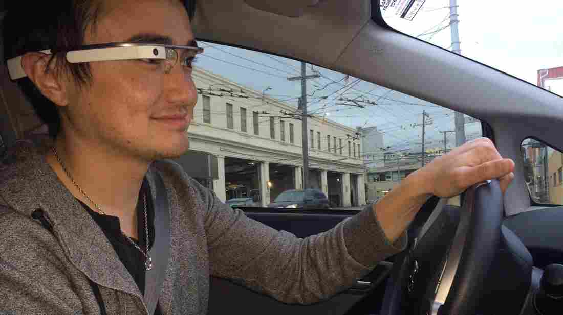 Shane Walker uses Google Glass while driving. His favorite feature is the ability to record his trips and send them to friends.