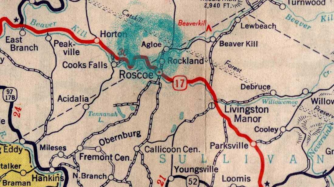 Agloe, circled here, was once a fictional town in upstate New York.