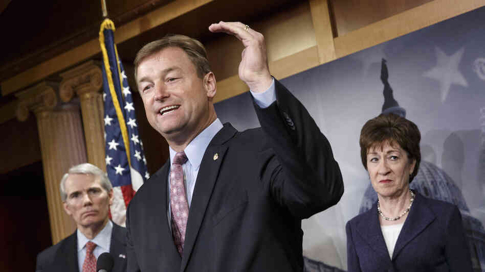 Republican senators Rob Portman (left), Dean Heller and Susan Collins worked with a bipartisan group to reach a deal to extend long-term jobless benefits for five months.