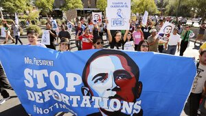 Demonstrators protest the Obama administration's deportation policies in Phoenix last year.