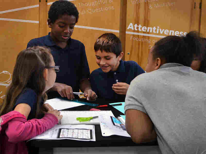Students play a math game at the Intellectual Virtues Academy in Long Beach, Calif. The charter middle school stresses grit, intellectual courage and curiosity.