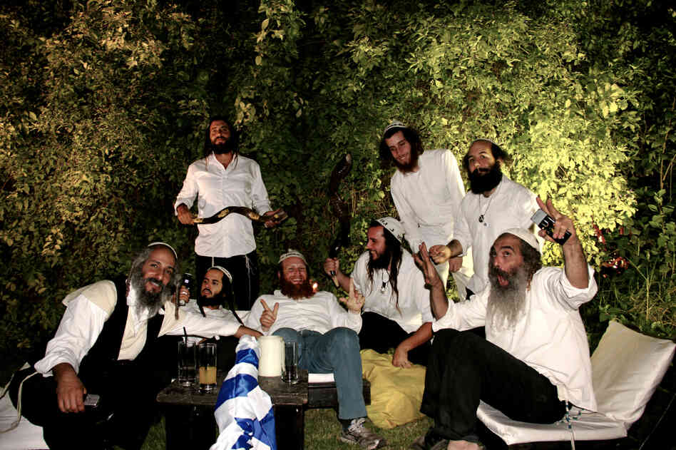 A group of Na Nachs goof off before a wedding performance in Tel Aviv.