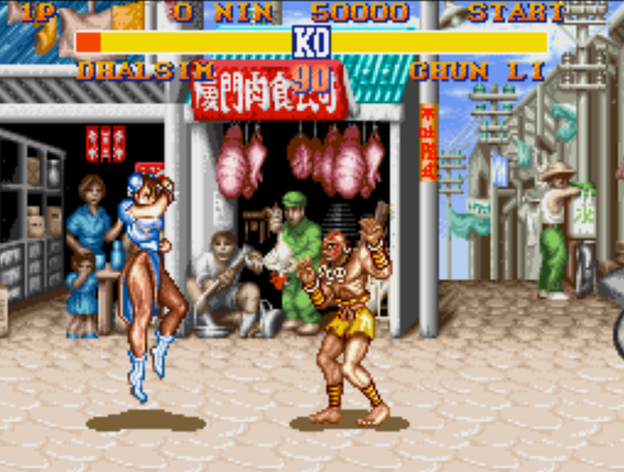 Dhalsim, right, a skinny Indian fighter who wore shrunken skulls around his neck, could stretch his limbs really far to punch or kick. His fighting style was based on yoga, you see. Chun-Li, the game's lone female character, nearly came with a shorter health meter because one game developer felt a woman character should be weaker than the men.