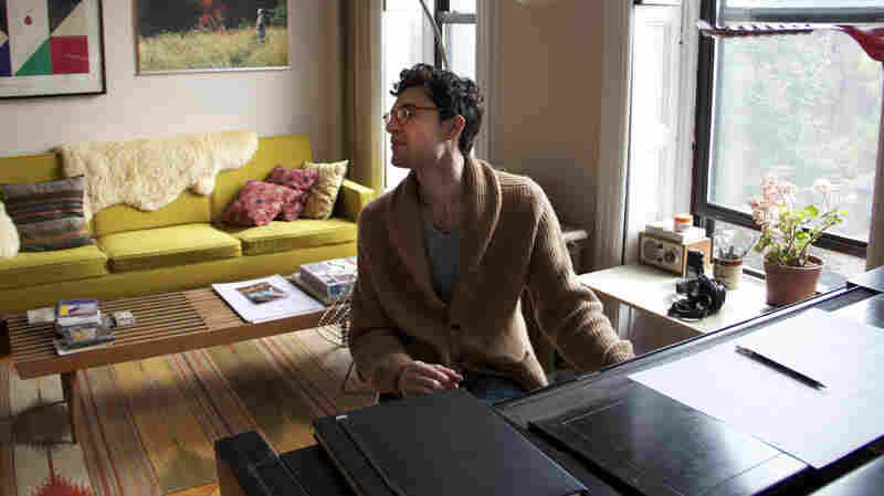 Timo Andres in his studio in Bed-Sty, Brooklyn.