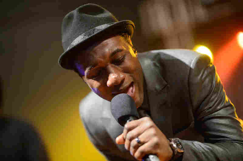 Aloe Blacc performs for the Def Jam 30th Anniversary Party at Stubb's BBQ.